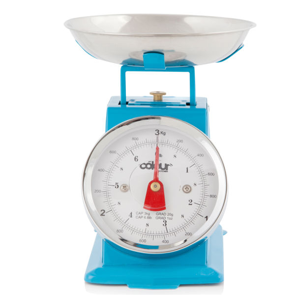 Blue Kitchen Scales: Cook In Colour 3kg Mini Traditional Kitchen Scales