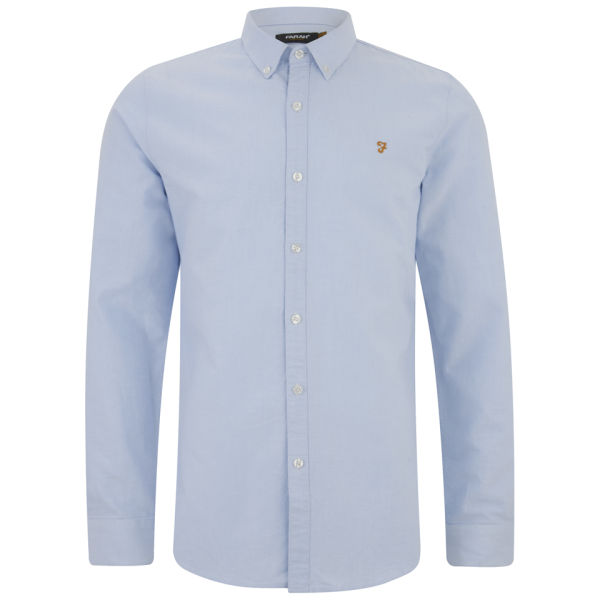 ed05c4b6acf Farah Vintage Men s Brewer Long Sleeve Shirt - Sky Blue Mens ...