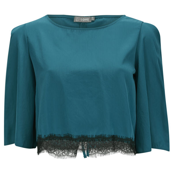 Haut Crop Top LOVE -Bleu Canard