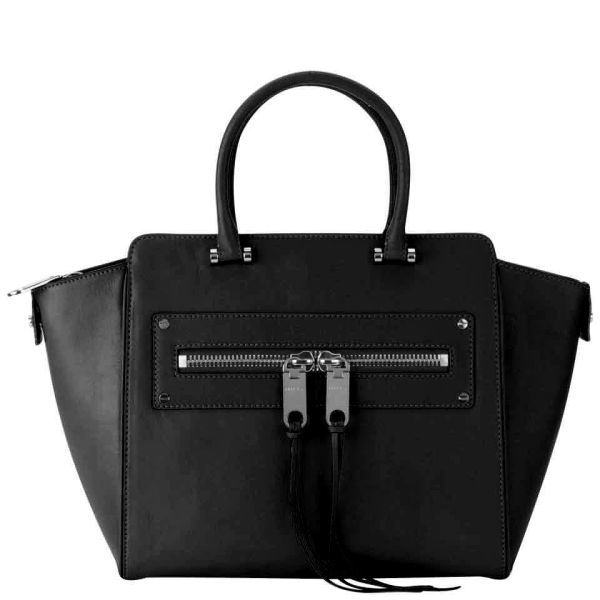 MILLY Riley Leather Tote Bag - Black