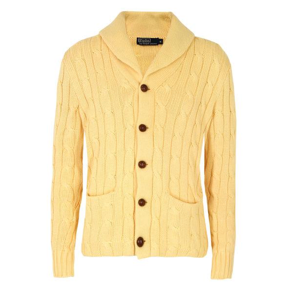Polo Ralph Lauren Men\u0027s Cable Knit Cardigan - Dusty Yellow: Image 1