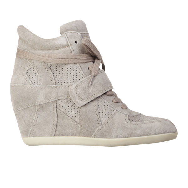 Ash Women's Bowie Suede Wedges Hi-Top Trainers - Stone