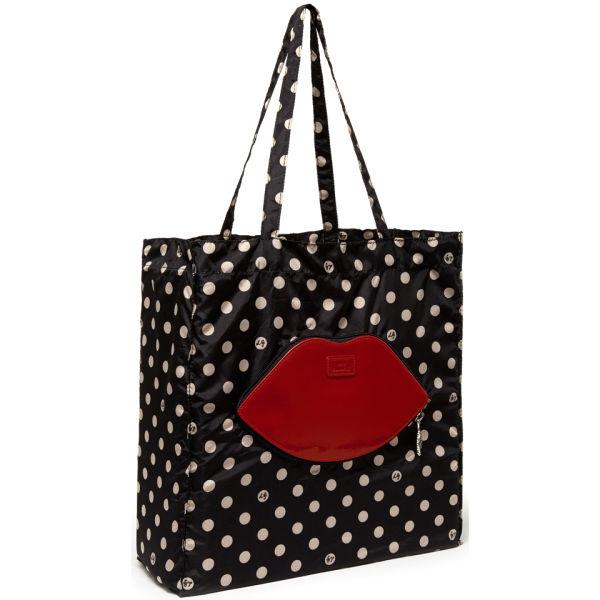 Lulu Guinness Red Lip Dot Foldaway Shopper - Black/Red