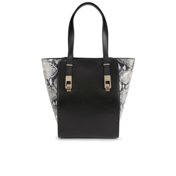 BOSS Hugo Boss Camely-P Snakeskin/Leather Shopper Bag - Black
