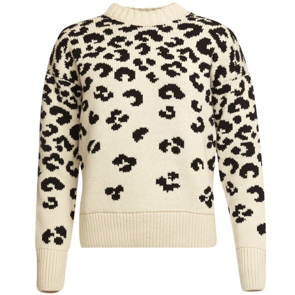 Joseph Women's Crew Neck Leopard Jacquard Sweater - Black/Ecru