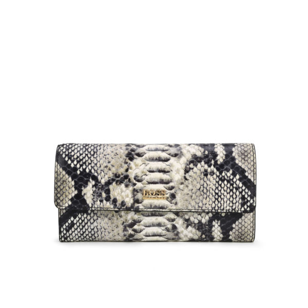 BOSS Hugo Boss Celdi-P Python Printed Leather Long Wallet - White