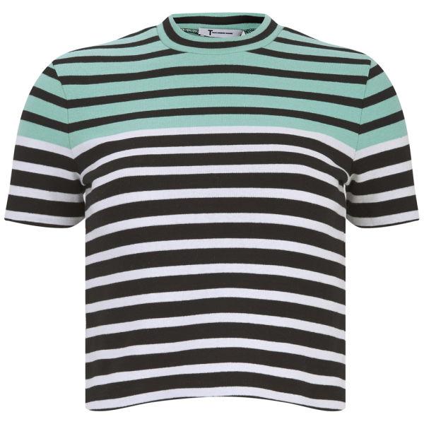 T by Alexander Wang Women's Stretch Cotton Engineer Striped T-Shirt - Seafoam