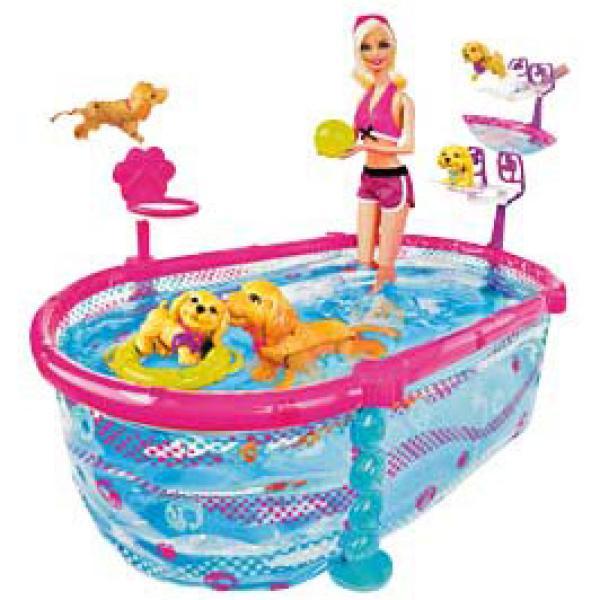 barbie puppy swim school toys
