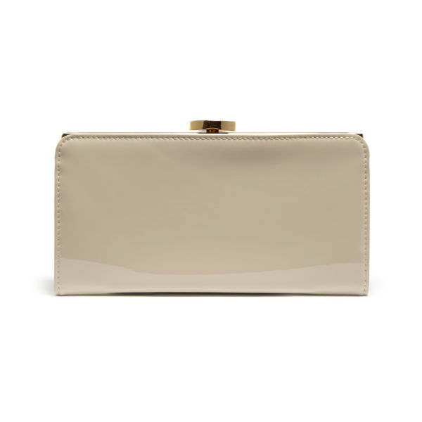 Lulu Guinness Flat Frame Patent Leather Purse with Lips - Stone