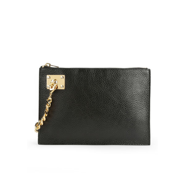 Sophie Hulme Large Zip Leather Pouch with Chain - Black