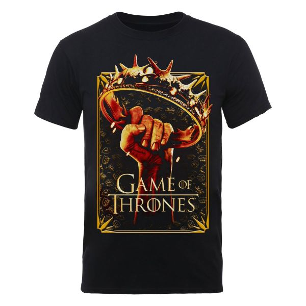 Game of thrones men 39 s t shirt crown black merchandise for Game of thrones gifts for men