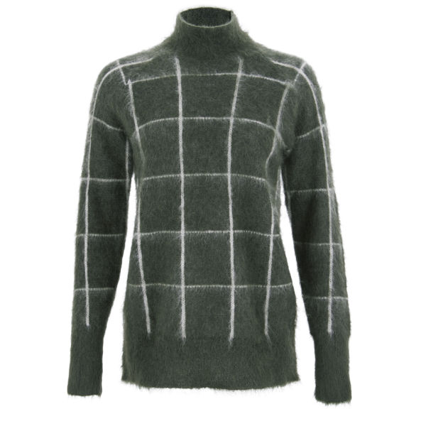 Wood Wood Women's Crissie Checked Knit Jumper - Army Check