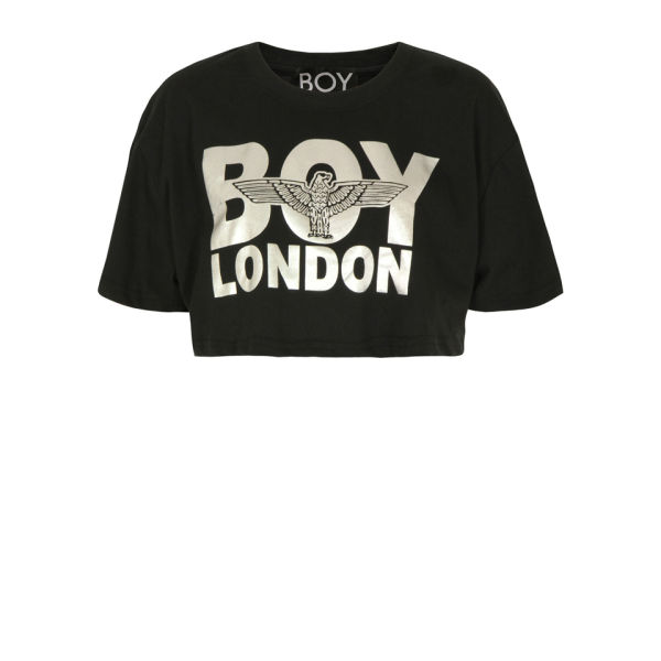 Boy London Women's Silver Print Crop Top - Black