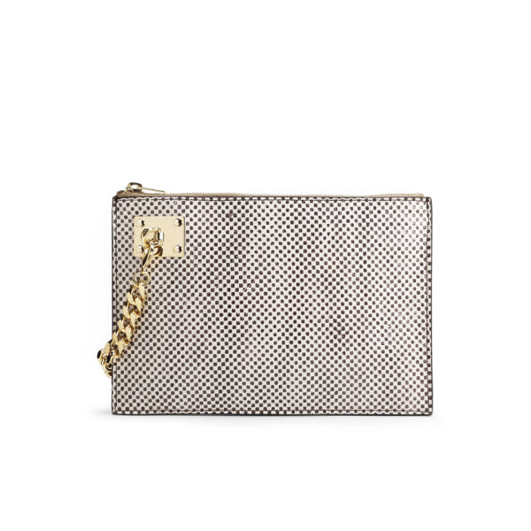 Sophie Hulme Large Zip Snake/Leather Pouch with Chain - Chequered Snake