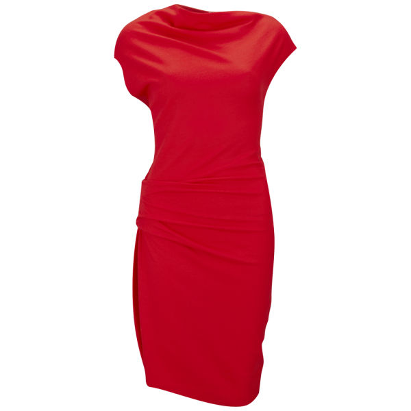 Helmut Lang Women's Sonar Wool Draped Dress - Red