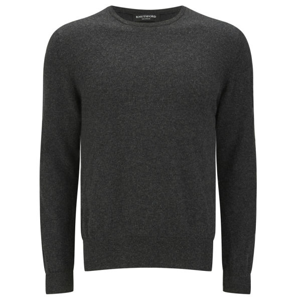 Knutsford Men's Crew Neck Cashmere Sweater - Charcoal