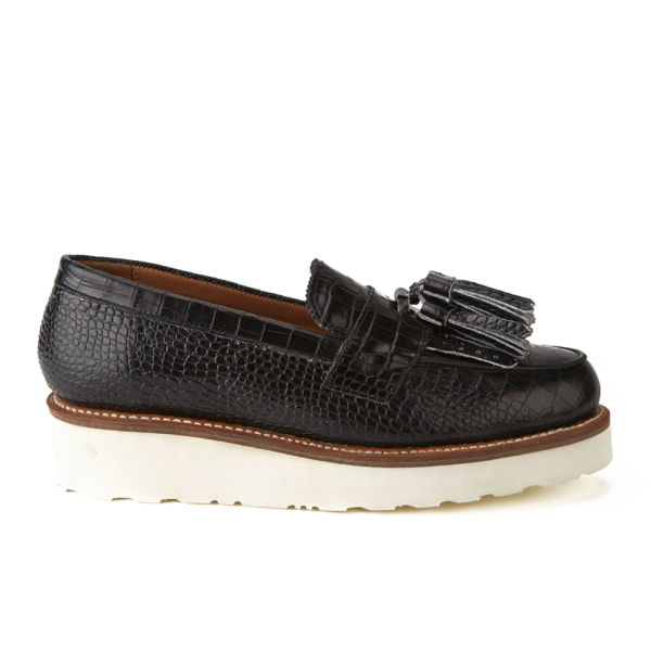 Grenson Women's Clara V Croc Leather Tassle Loafers - Black