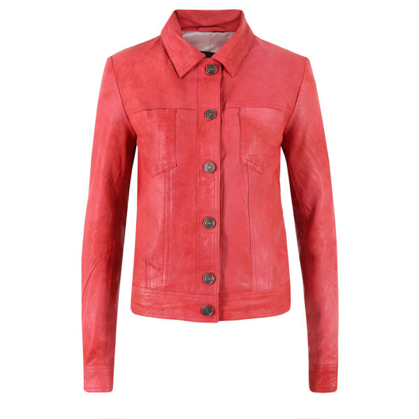 Gestuz Women's Alina Leather Jacket - Baroque Rose
