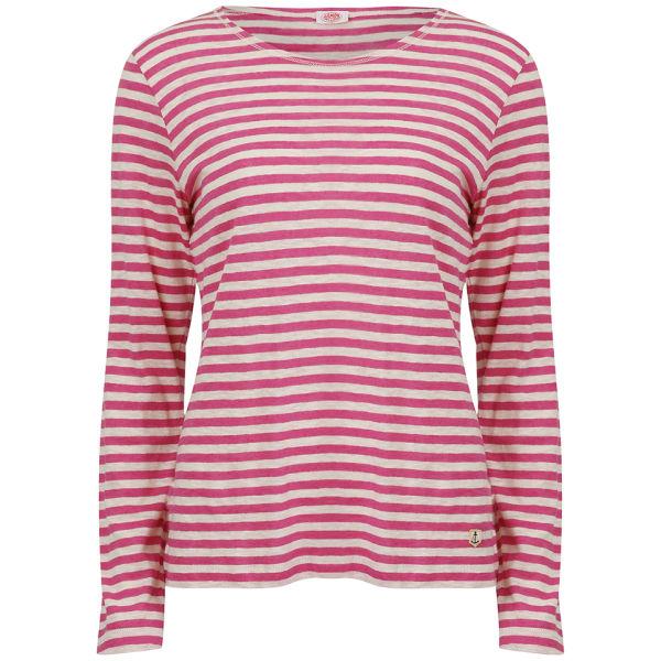 Armor Lux Women's Linen LS Striped Shirt - Nature/Raspberry