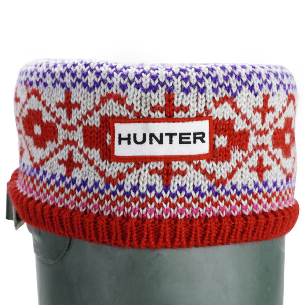 Hunter Women's Fairisle Pattern Cuff Welly Socks - Multi Red/Royal Purple