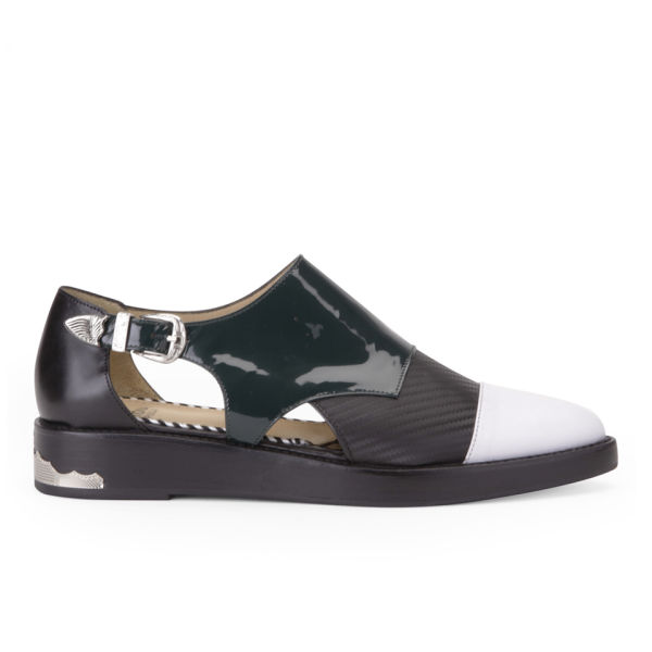 Toga Pulla Women's Buckle Patent Leather Shoes - White/Black