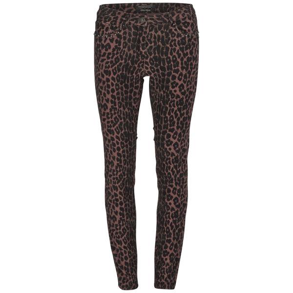 Maison Scotch Women's Stud Details Rib Cord Skinny Jeans - Leopard
