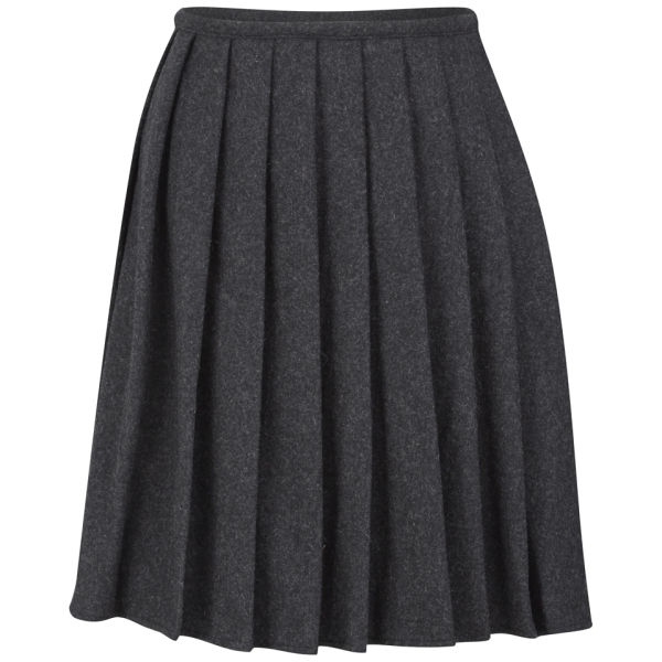 YMC Women's Pleated Wool Skirt - Charcoal