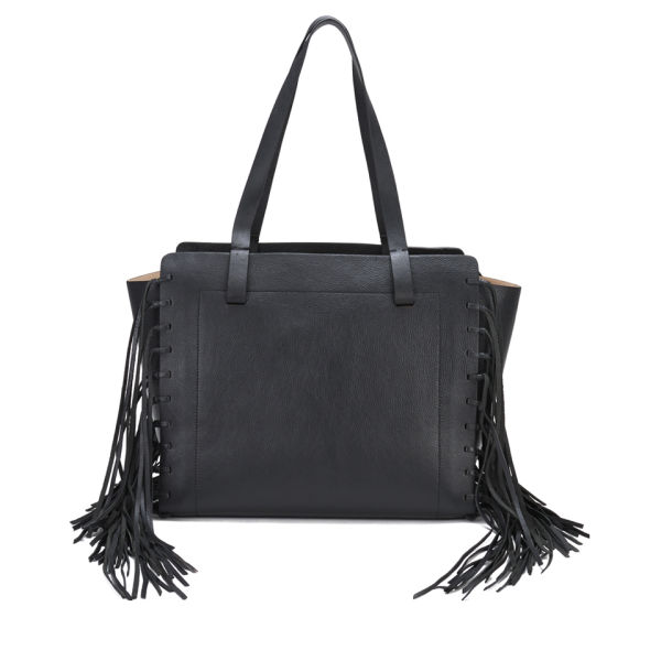 By Malene Birger Women's Braciona Leather Fringe Tote Bag - Black