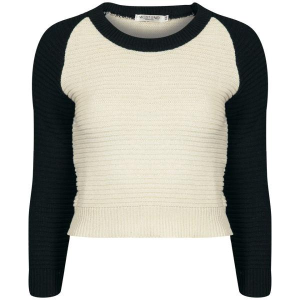 Moku Women's Raglan Sleeve Colour Block Knit Jumper - Black/White
