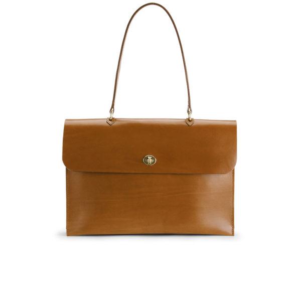 Mimi Minerva Large Top Handle Leather Bag - Tan