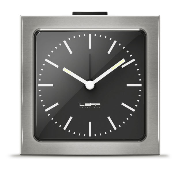 LEFF Amsterdam Block Alarm Clock - Silver with Black Face