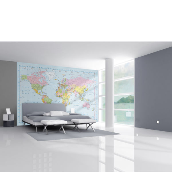 world map in stunning digital colour wall mural homeware