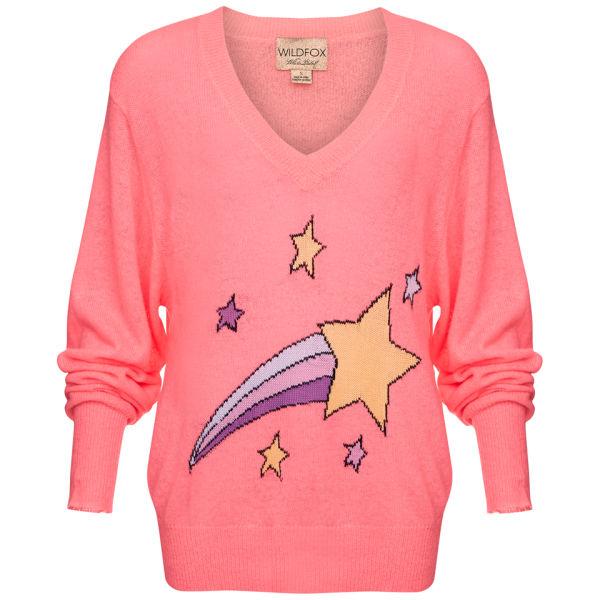 Wildfox Women's Shooting Star School Girl V Neck Sweater - Neon Sign