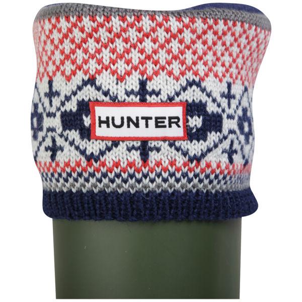 Hunter Women's Fairisle Pattern Cuff Welly Socks - Multi Red/Navy