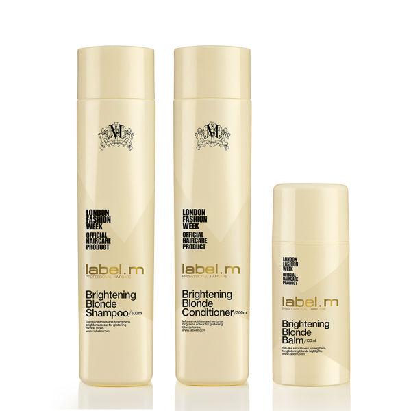 label.m Brightening Blonde Shampoo 300ml, Conditioner 300ml and Balm 100ml Bundle (Worth £42.85)