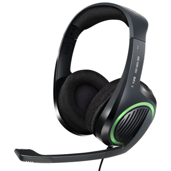 sennheiser x320 gaming stereo headphones with noise cancelling mic for xbox 360 electronics. Black Bedroom Furniture Sets. Home Design Ideas