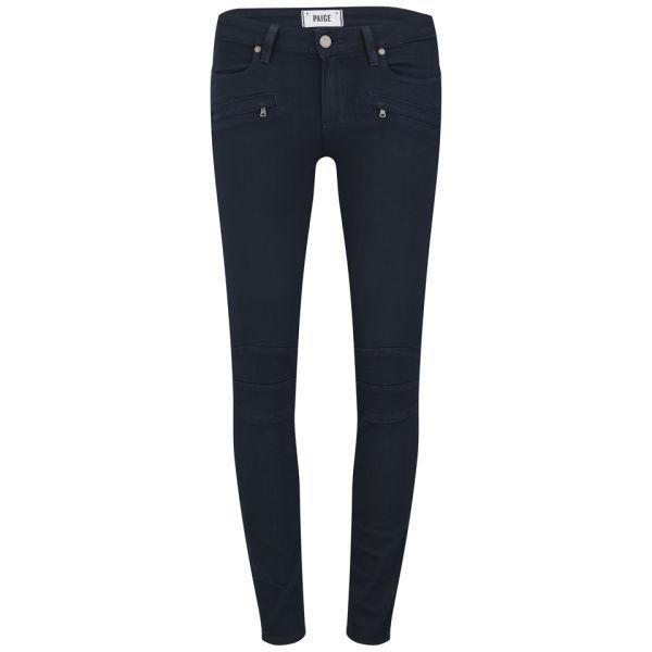 Paige Women's Ollie Mid Rise Midnight Blue Skinny Biker Jeans with Zips -  Indigo