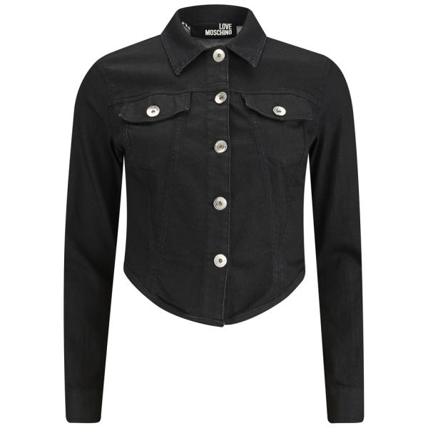 Love Moschino Women's Denim Jacket With Laces - Black