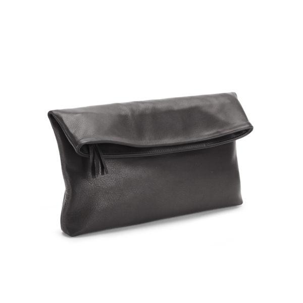 Mimi Luna Soft Zip Foldover Leather Clutch Bag Black Image 2