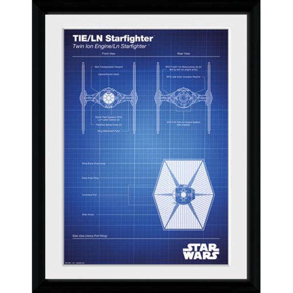 wars tie fighter blueprint 30x40 collector prints