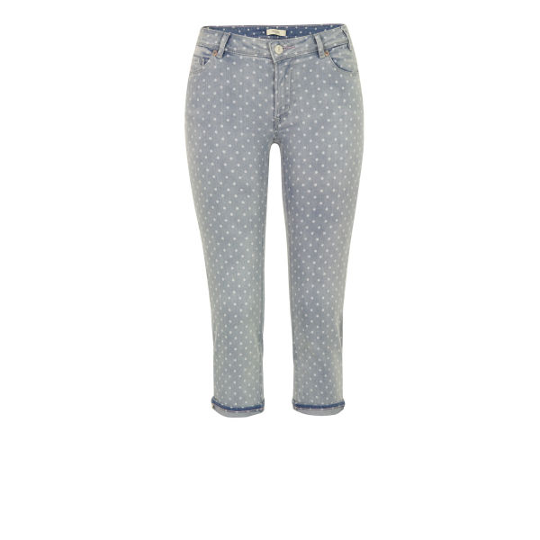 Paul by Paul Smith Women's F247 Blue Polka Dot Cropped Jeans - Blue