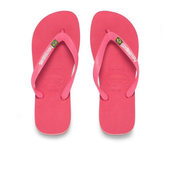 Havaianas Women's Brasil Logo Flip Flops - Pink: Image 1
