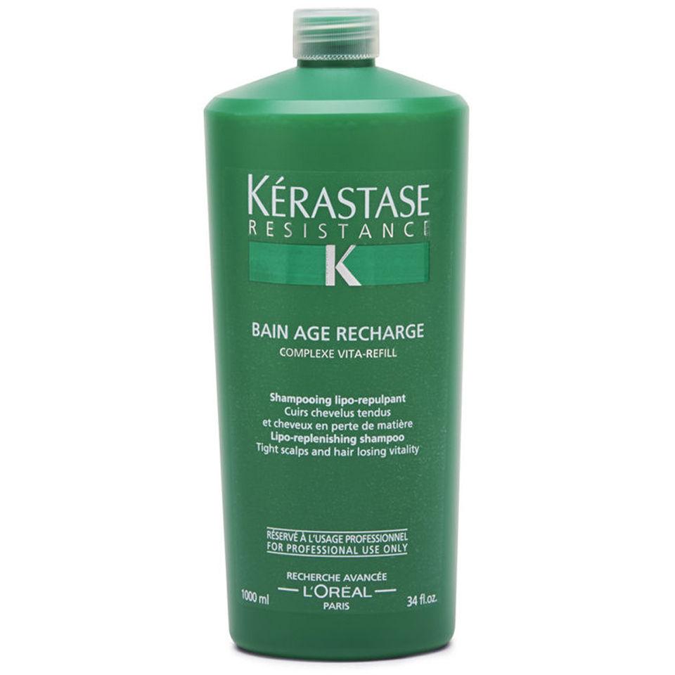 K rastase resistance bain age recharge 1000ml with pump for Kerastase bain miroir 2 shampoo
