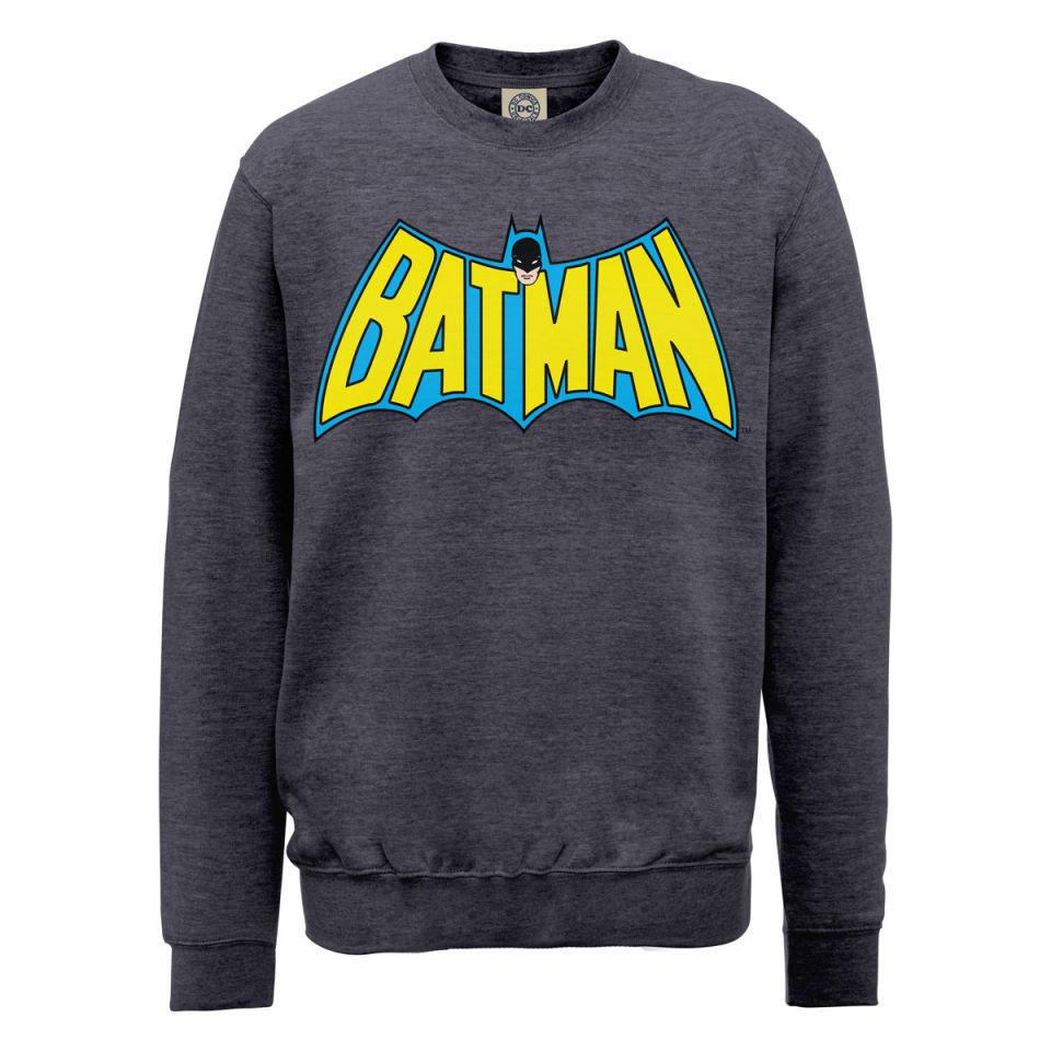 dc comics sweatshirt batman retro logo steel grey iwoot