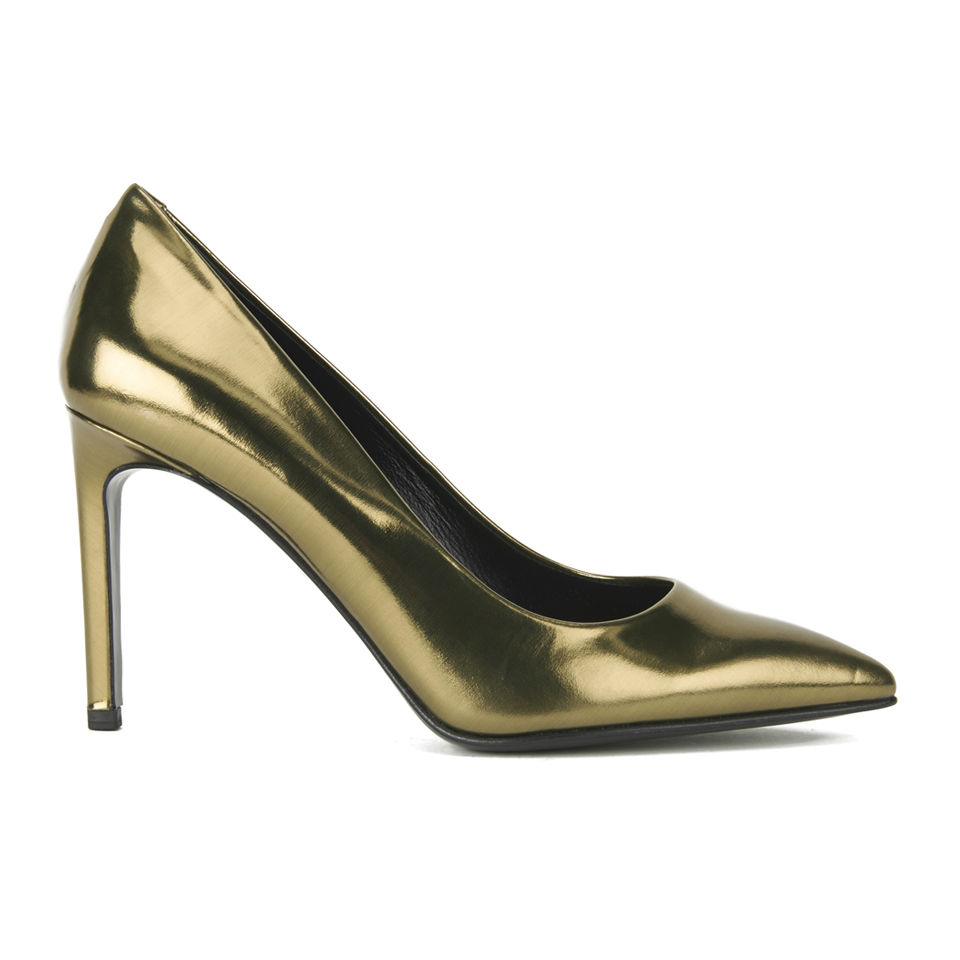 ed5434b667 BOSS Hugo Boss Women's Lia Leather Heeled Court Shoes - Gold | FREE UK  Delivery | Allsole