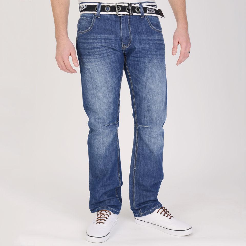 Crosshatch Mens Rockford Mid Rise Belted Denim Jeans Mid