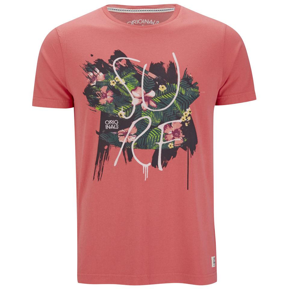 Jack Jones Mens Rose T Shirt Spiced Coral Clothing