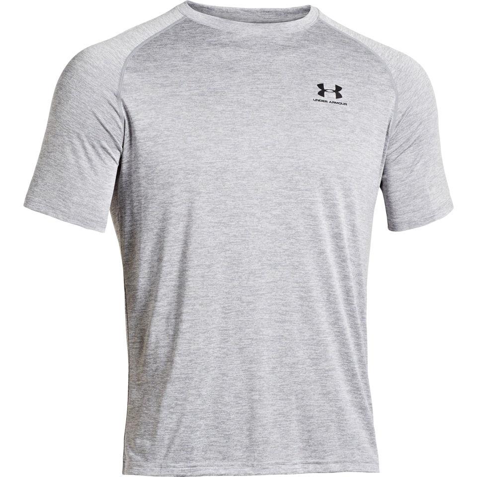 Under armour men 39 s ua tech short sleeve t shirt true Mens heather grey t shirt