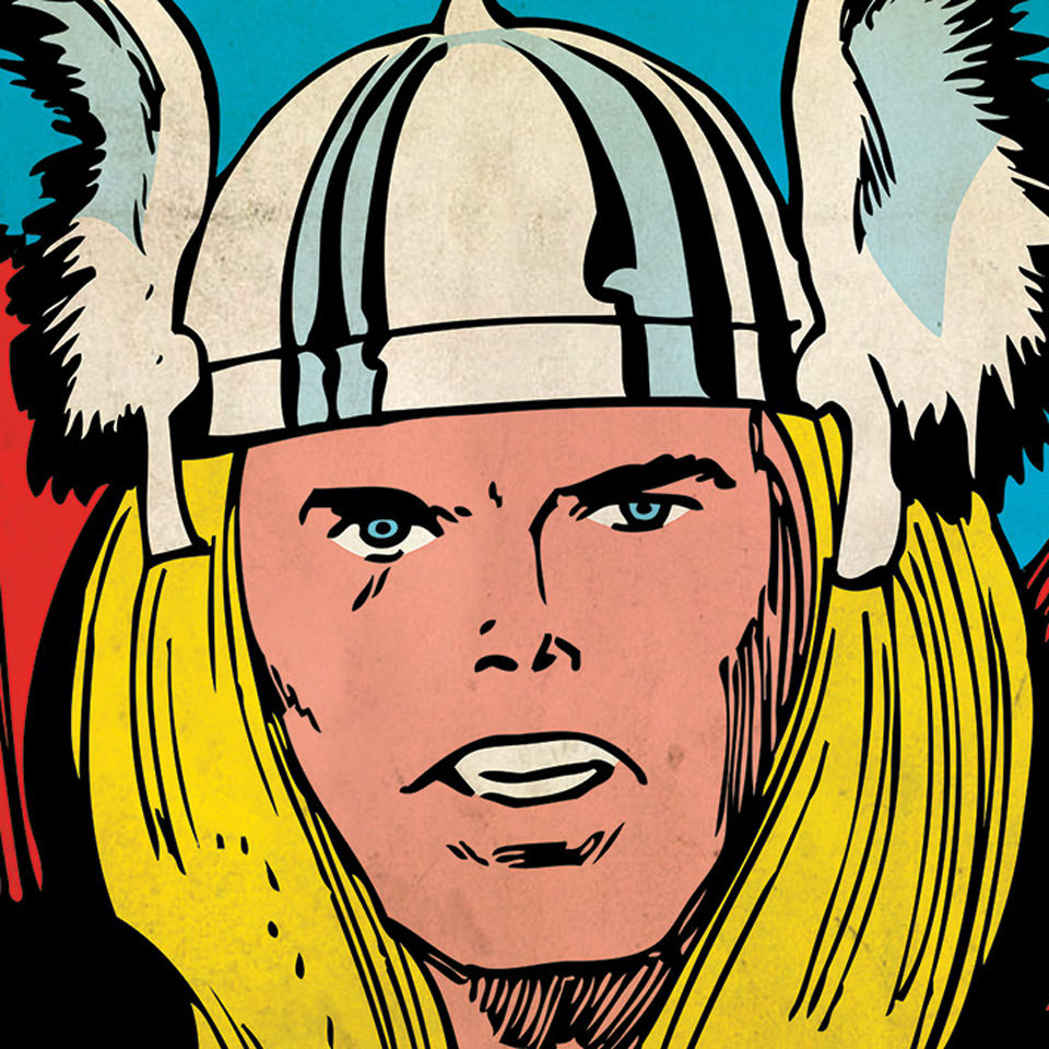 Marvel Comics Thor Close Up 40x40cm Canvas Homeware
