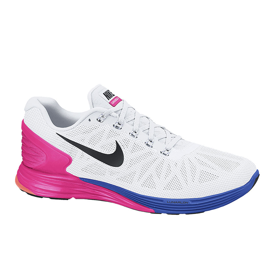 9b101289c84a Nike Women s Lunarglide 6 Running Shoes - White Pink Blue ...